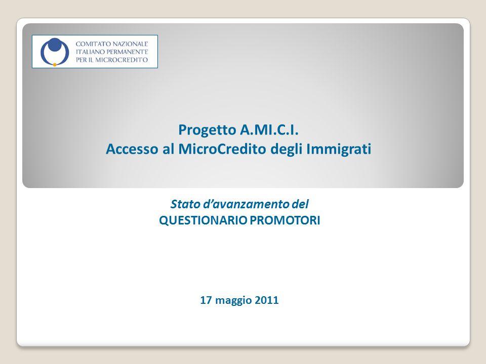Progetto A.MI.C.I. Accesso al MicroCredito degli Immigrati Stato d'avanzamento del QUESTIONARIO PROMOTORI 17 maggio 2011