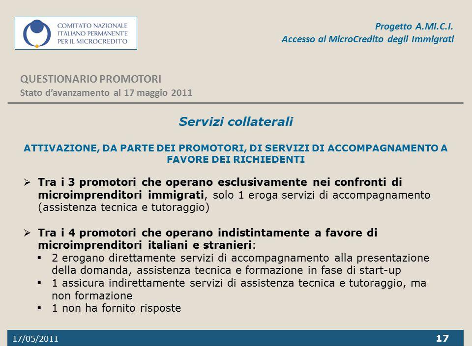 17/05/2011 17 Progetto A.MI.C.I. Accesso al MicroCredito degli Immigrati QUESTIONARIO PROMOTORI Stato d'avanzamento al 17 maggio 2011 Servizi collater