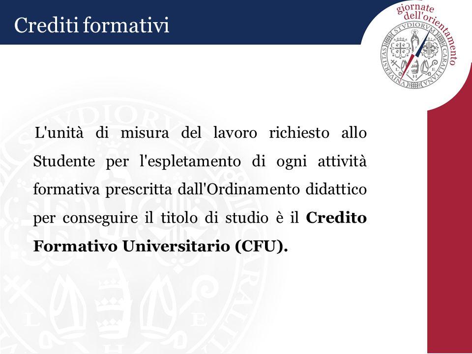 Crediti formativi L unità di misura del lavoro richiesto allo Studente per l espletamento di ogni attività formativa prescritta dall Ordinamento didattico per conseguire il titolo di studio è il Credito Formativo Universitario (CFU).