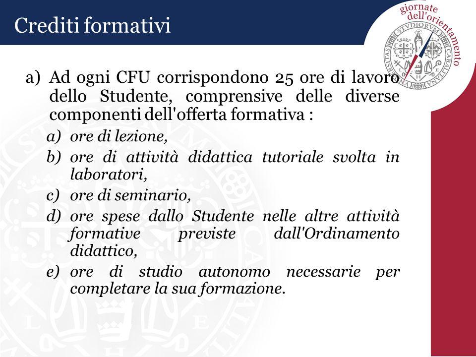 a)Ad ogni CFU corrispondono 25 ore di lavoro dello Studente, comprensive delle diverse componenti dell'offerta formativa : a)ore di lezione, b)ore di