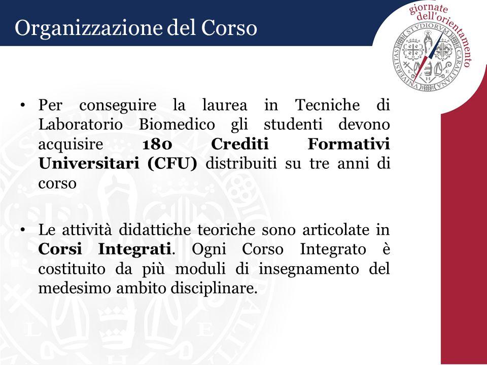 Organizzazione del Corso Per conseguire la laurea in Tecniche di Laboratorio Biomedico gli studenti devono acquisire 180 Crediti Formativi Universitar