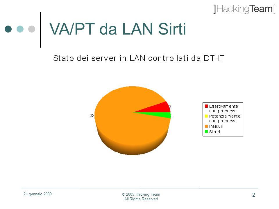 21 gennaio 2009 © 2009 Hacking Team All Rights Reserved 13 Vulnerabilità LAN ed Internet