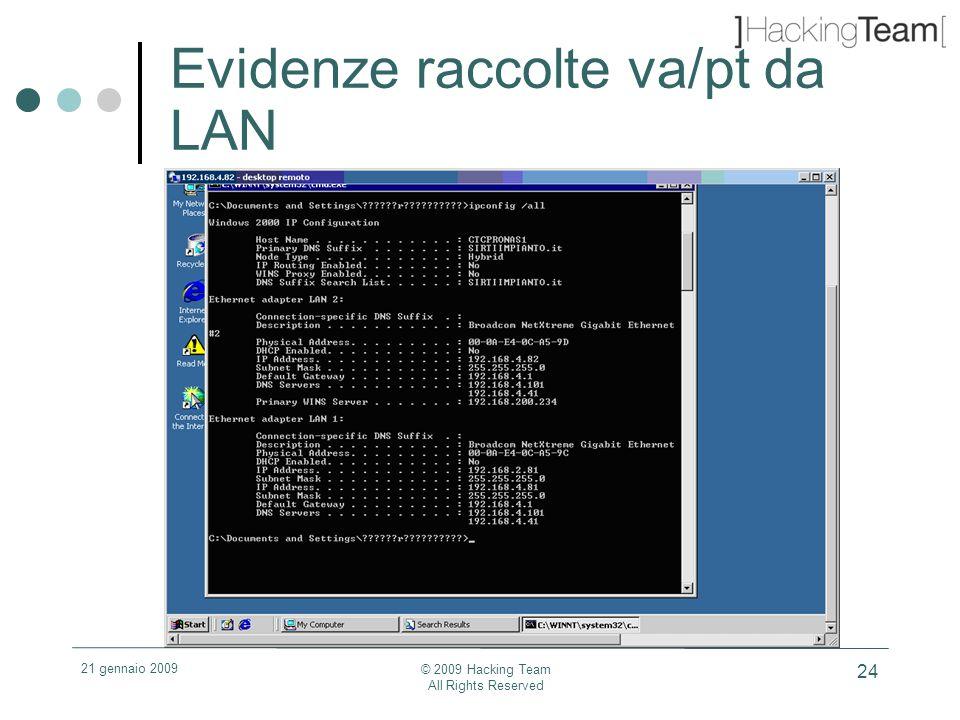 21 gennaio 2009 © 2009 Hacking Team All Rights Reserved 24 Evidenze raccolte va/pt da LAN