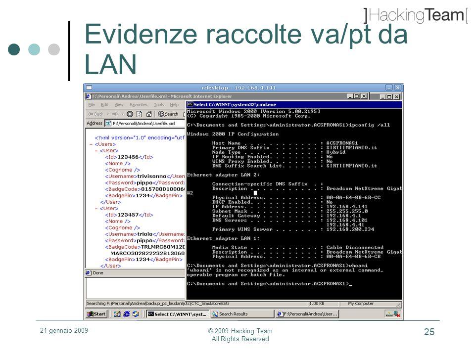 21 gennaio 2009 © 2009 Hacking Team All Rights Reserved 25 Evidenze raccolte va/pt da LAN
