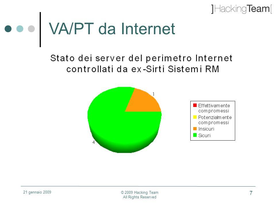 21 gennaio 2009 © 2009 Hacking Team All Rights Reserved 18 Giudizio VA/PT LAN Genova Bombrini – R&D Sistemi di segnalamento Critico perché: - i 3 server testati erano protetti da credenziali banali per l amministratore e, in un caso, anche per il servizio MS-SQL che ha permesso la compromissione completa degli stessi e delle share di rete connesse ad essi e contenenti i documenti degli utenti