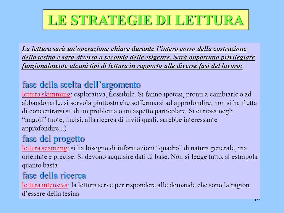 10 LE STRATEGIE DI LETTURA La lettura sarà un'operazione chiave durante l'intero corso della costruzione della tesina e sarà diversa a seconda delle esigenze.