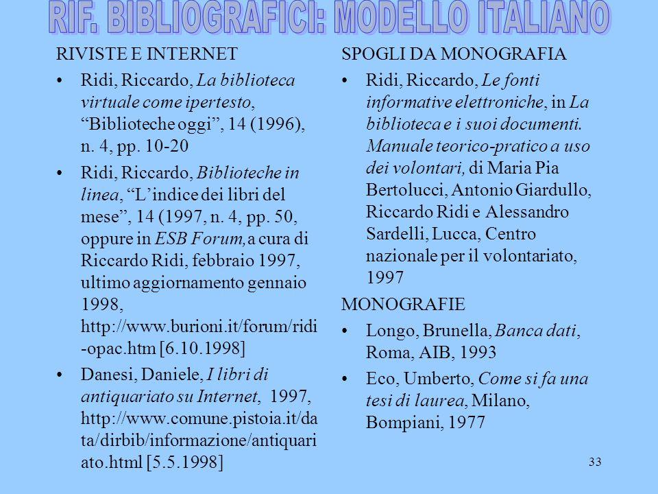 33 RIVISTE E INTERNET Ridi, Riccardo, La biblioteca virtuale come ipertesto, Biblioteche oggi , 14 (1996), n.