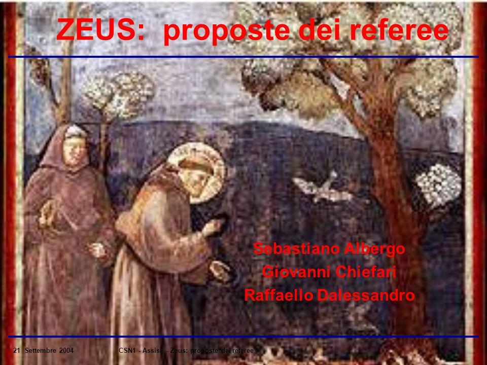 21 Settembre 2004CSN1 - Assisi - Zeus: proposte dei referee ZEUS: proposte dei referee Sebastiano Albergo Giovanni Chiefari Raffaello Dalessandro