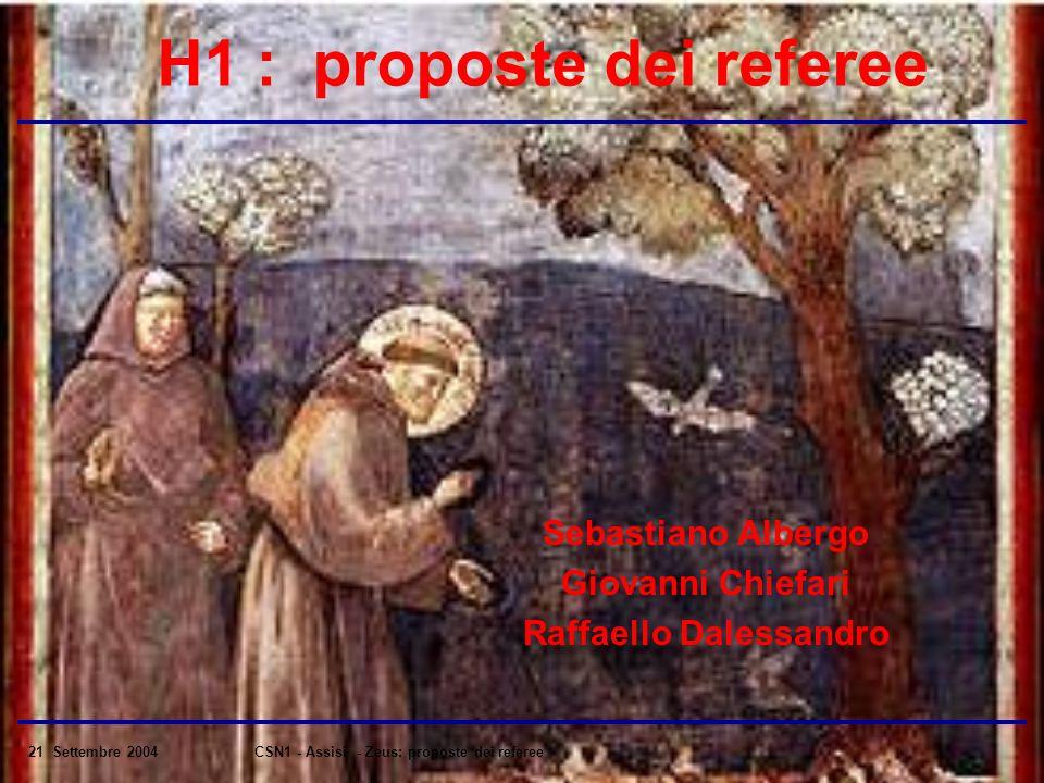 21 Settembre 2004CSN1 - Assisi - Zeus: proposte dei referee H1 : proposte dei referee Sebastiano Albergo Giovanni Chiefari Raffaello Dalessandro