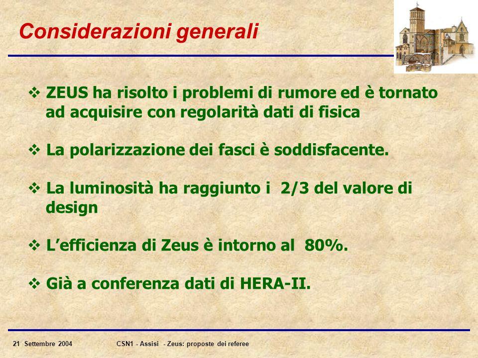 21 Settembre 2004CSN1 - Assisi - Zeus: proposte dei referee Considerazioni generali  ZEUS ha risolto i problemi di rumore ed è tornato ad acquisire con regolarità dati di fisica  La polarizzazione dei fasci è soddisfacente.