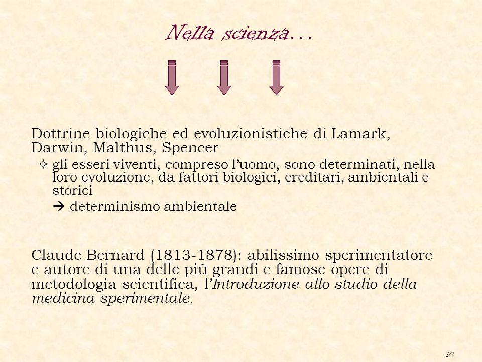 10 Dottrine biologiche ed evoluzionistiche di Lamark, Darwin, Malthus, Spencer  gli esseri viventi, compreso l'uomo, sono determinati, nella loro evo