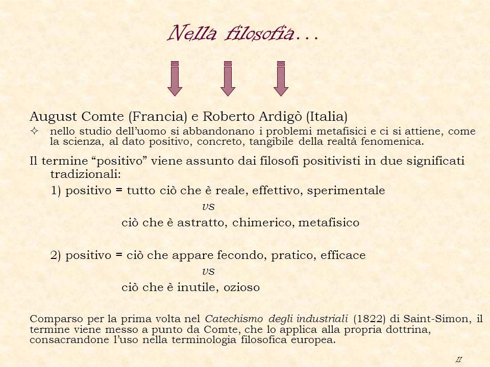 11 August Comte (Francia) e Roberto Ardigò (Italia)  nello studio dell'uomo si abbandonano i problemi metafisici e ci si attiene, come la scienza, al