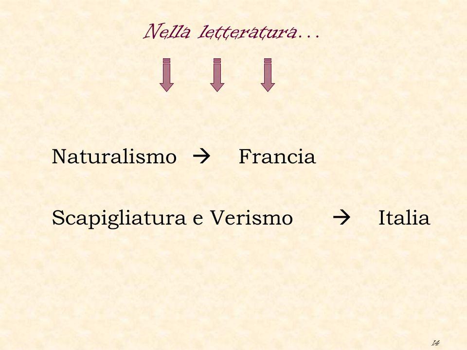 14 Naturalismo  Francia Scapigliatura e Verismo  Italia Nella letteratura…