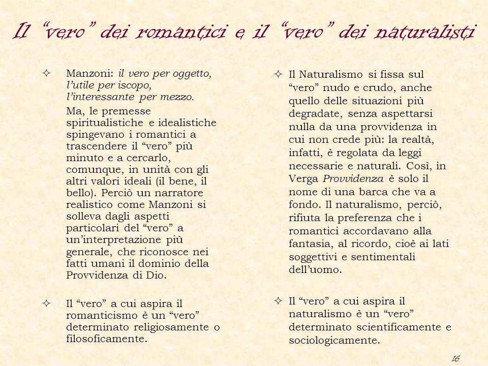 """16 Il """"vero"""" dei romantici e il """"vero"""" dei naturalisti  Manzoni: il vero per oggetto, l'utile per iscopo, l'interessante per mezzo. Ma, le premesse s"""