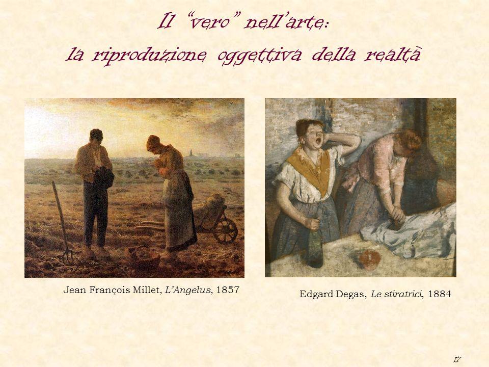 """17 Il """"vero"""" nell'arte: la riproduzione oggettiva della realtà Jean François Millet, L'Angelus, 1857 Edgard Degas, Le stiratrici, 1884"""