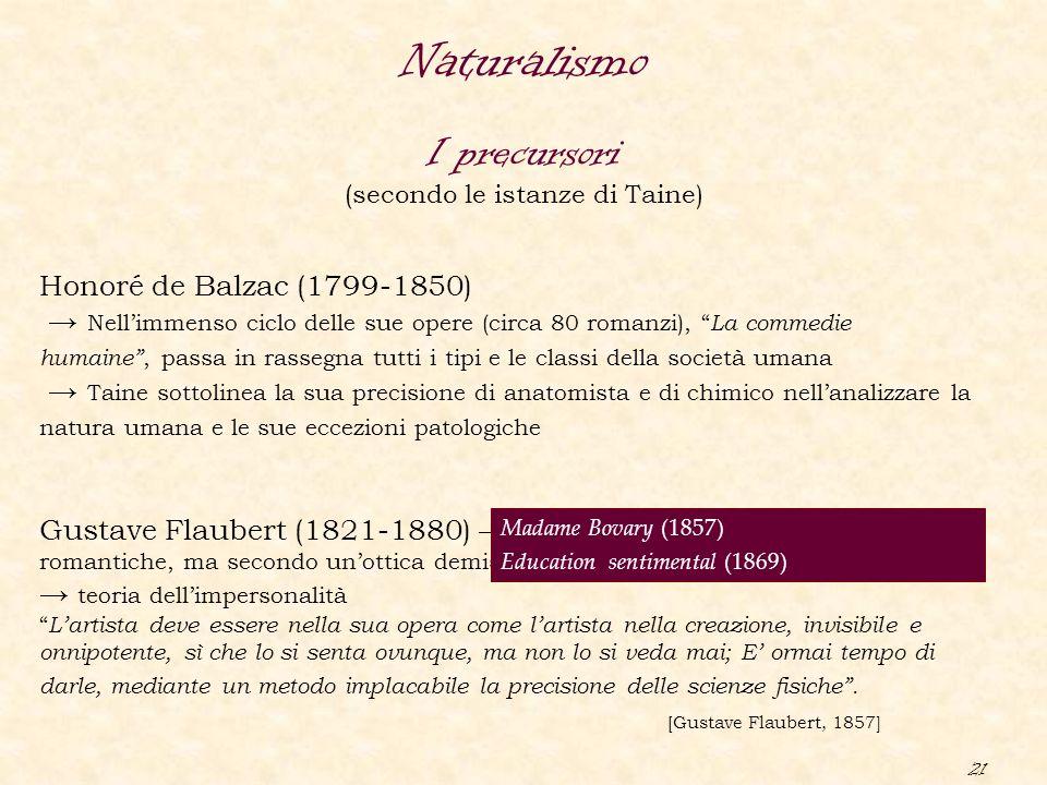 """21 Naturalismo I precursori (secondo le istanze di Taine) Honoré de Balzac (1799-1850) → Nell'immenso ciclo delle sue opere (circa 80 romanzi), """" La c"""