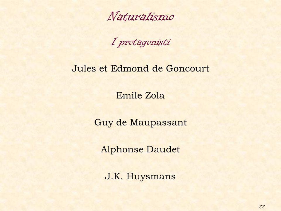 22 Jules et Edmond de Goncourt Emile Zola Guy de Maupassant Alphonse Daudet J.K. Huysmans Naturalismo I protagonisti