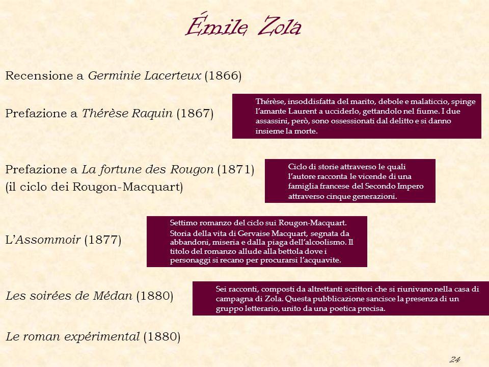 24 Émile Zola Les soirées de Médan (1880) Prefazione a La fortune des Rougon (1871) (il ciclo dei Rougon-Macquart) Recensione a Germinie Lacerteux (18