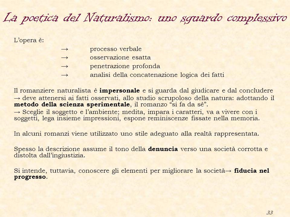 33 L'opera è: → processo verbale → osservazione esatta → penetrazione profonda → analisi della concatenazione logica dei fatti Il romanziere naturalis