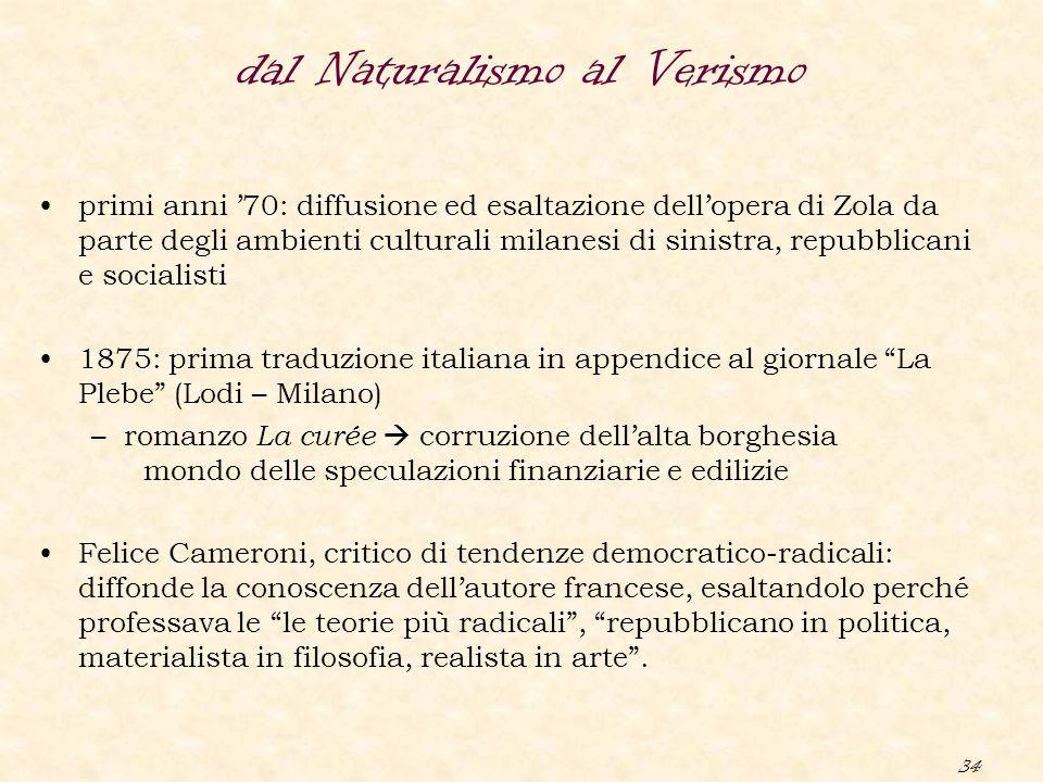 34 dal Naturalismo al Verismo primi anni '70: diffusione ed esaltazione dell'opera di Zola da parte degli ambienti culturali milanesi di sinistra, rep
