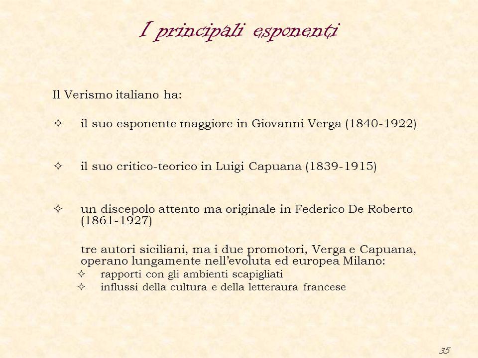 35 I principali esponenti Il Verismo italiano ha:  il suo esponente maggiore in Giovanni Verga (1840-1922)  il suo critico-teorico in Luigi Capuana