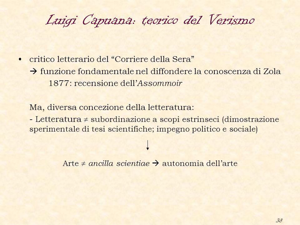 """38 Luigi Capuana: teorico del Verismo critico letterario del """"Corriere della Sera""""  funzione fondamentale nel diffondere la conoscenza di Zola 1877:"""