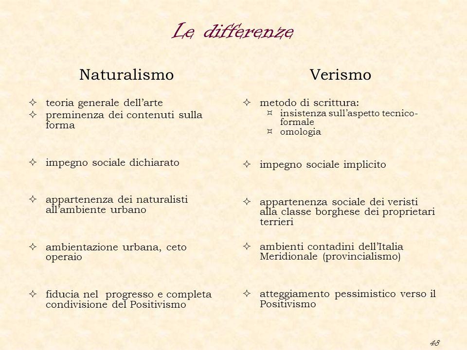 48 Le differenze Naturalismo  teoria generale dell'arte  preminenza dei contenuti sulla forma  impegno sociale dichiarato  appartenenza dei natura