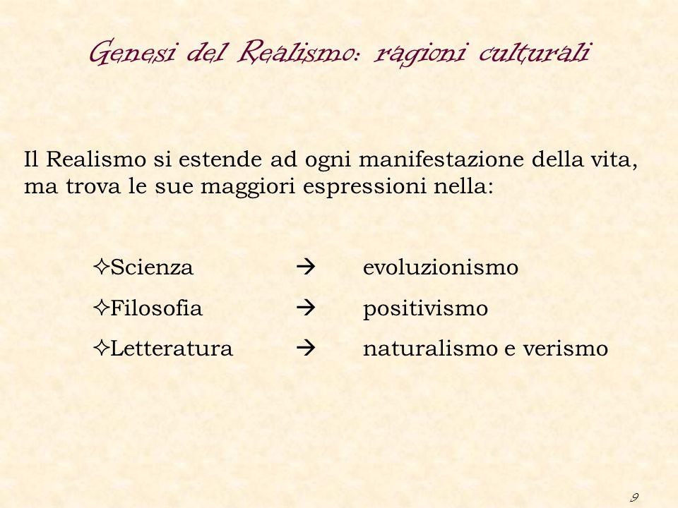 9 Genesi del Realismo: ragioni culturali Il Realismo si estende ad ogni manifestazione della vita, ma trova le sue maggiori espressioni nella:  Scien