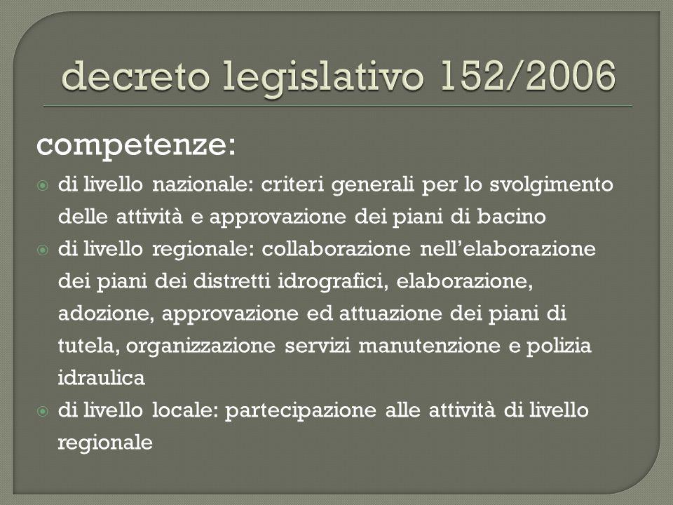 competenze:  di livello nazionale: criteri generali per lo svolgimento delle attività e approvazione dei piani di bacino  di livello regionale: coll