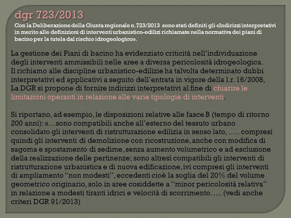 Con la Deliberazione della Giunta regionale n.723/2013 sono stati definiti gli «Indirizzi interpretativi in merito alle definizioni di interventi urba