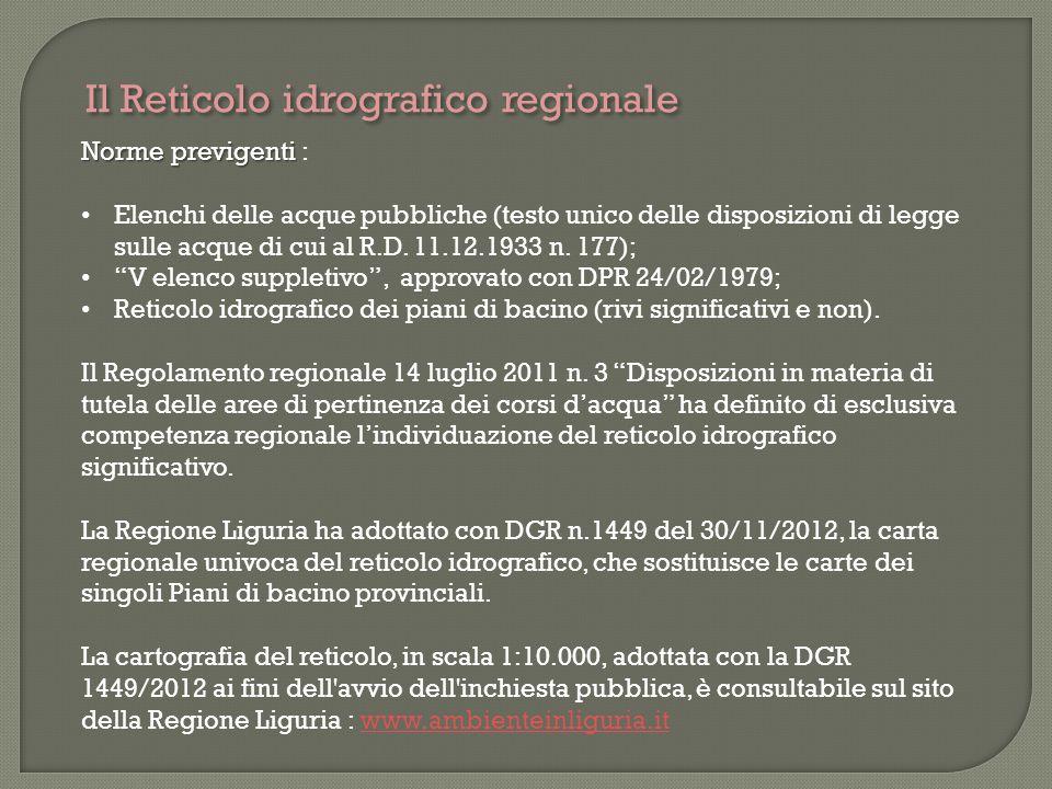 Il Reticolo idrografico regionale Norme previgenti Norme previgenti : Elenchi delle acque pubbliche (testo unico delle disposizioni di legge sulle acq