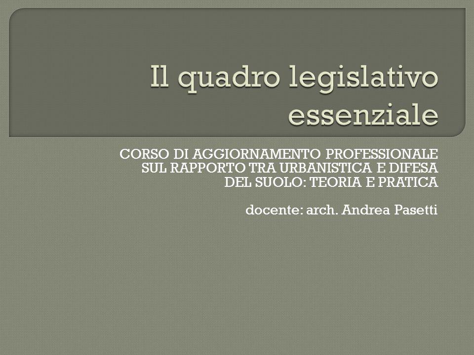 CORSO DI AGGIORNAMENTO PROFESSIONALE SUL RAPPORTO TRA URBANISTICA E DIFESA DEL SUOLO: TEORIA E PRATICA docente: arch. Andrea Pasetti