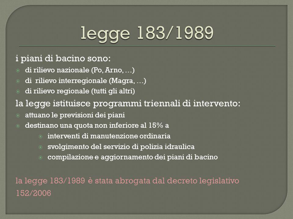 i piani di bacino sono:  di rilievo nazionale (Po, Arno, …)  di rilievo interregionale (Magra, …)  di rilievo regionale (tutti gli altri) la legge