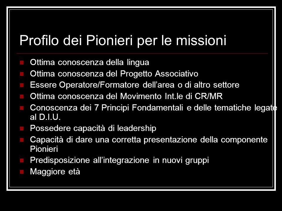 Profilo dei Pionieri per le missioni Ottima conoscenza della lingua Ottima conoscenza del Progetto Associativo Essere Operatore/Formatore dell'area o