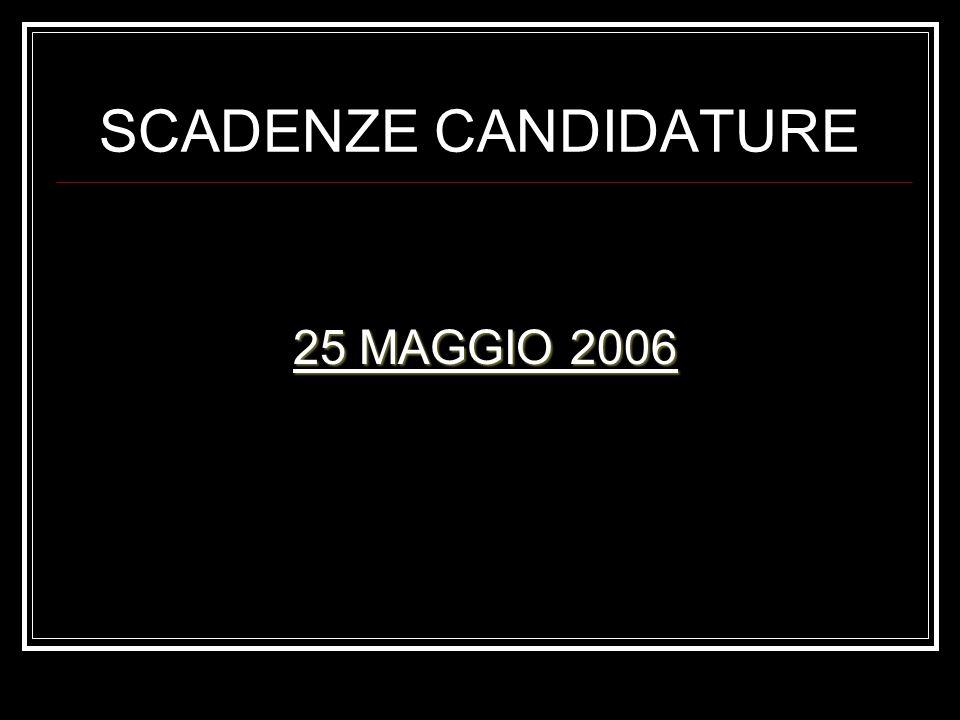 SCADENZE CANDIDATURE 25 MAGGIO 2006