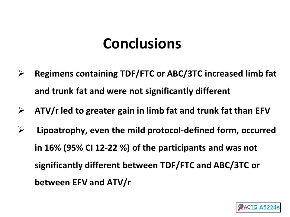 Conclusions  Regimens containing TDF/FTC or ABC/3TC increased limb fat and trunk fat and were not significantly different  ATV/r led to greater gain in limb fat and trunk fat than EFV  Lipoatrophy, even the mild protocol-defined form, occurred in 16% (95% CI 12-22 %) of the participants and was not significantly different between TDF/FTC and ABC/3TC or between EFV and ATV/r A5224s