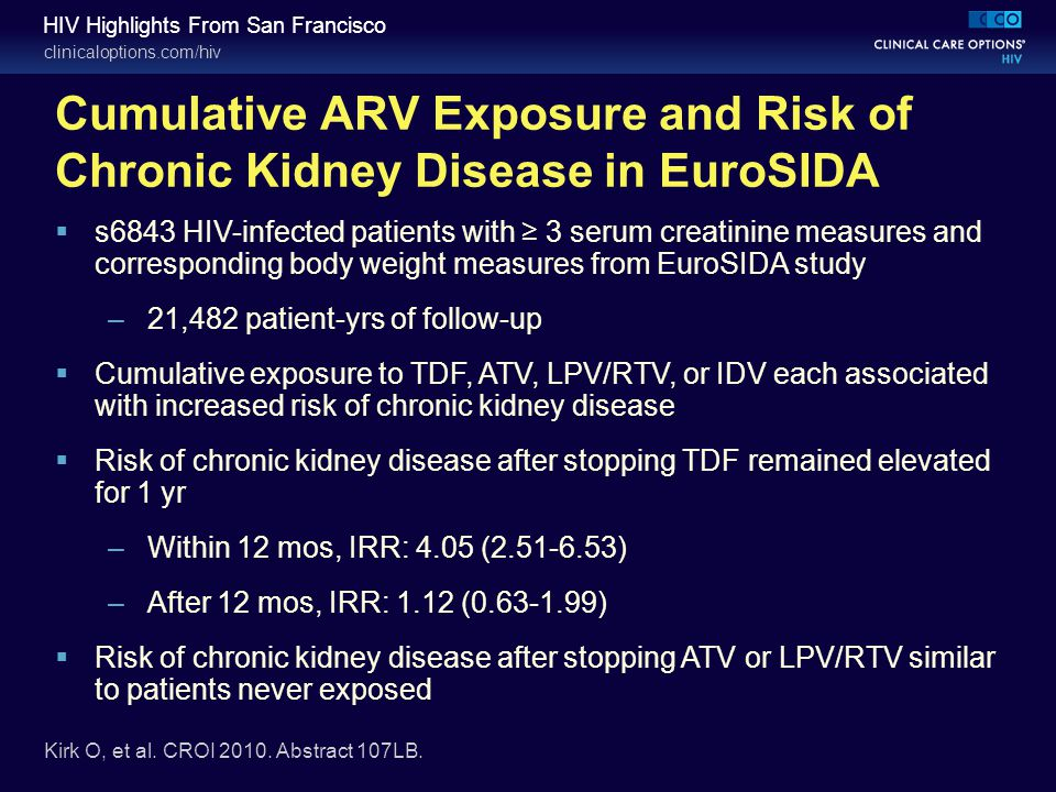 clinicaloptions.com/hiv HIV Highlights From San Francisco Cumulative ARV Exposure and Risk of Chronic Kidney Disease in EuroSIDA Kirk O, et al. CROI 2