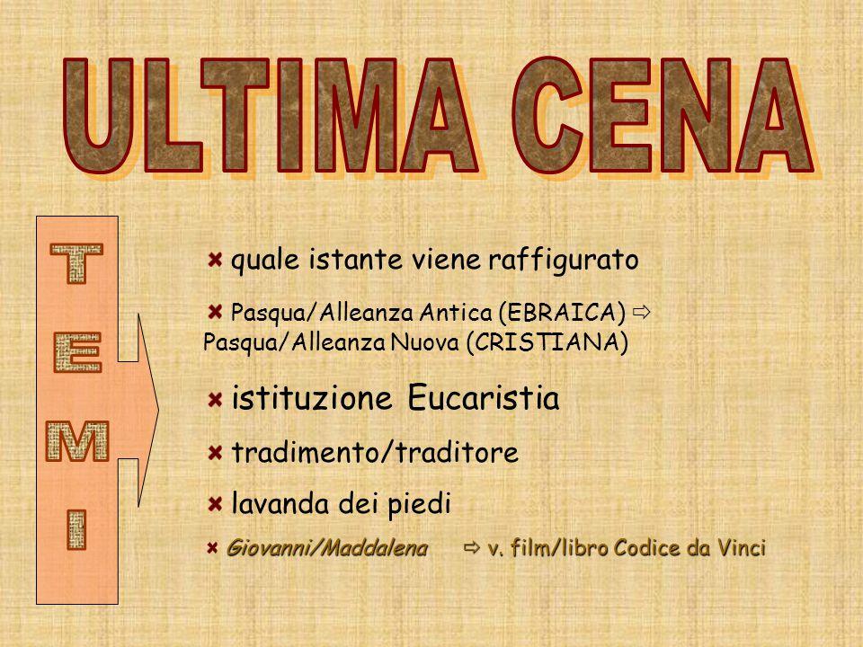 quale istante viene raffigurato Pasqua/Alleanza Antica (EBRAICA)  Pasqua/Alleanza Nuova (CRISTIANA) istituzione Eucaristia tradimento/traditore lavan
