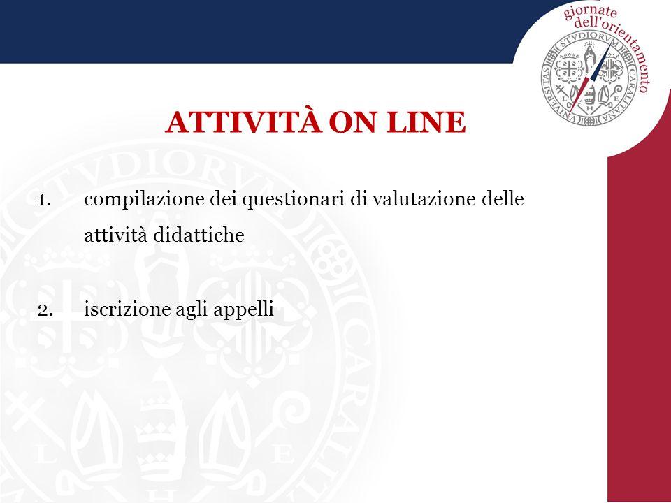 ATTIVITÀ ON LINE 1.compilazione dei questionari di valutazione delle attività didattiche 2.iscrizione agli appelli