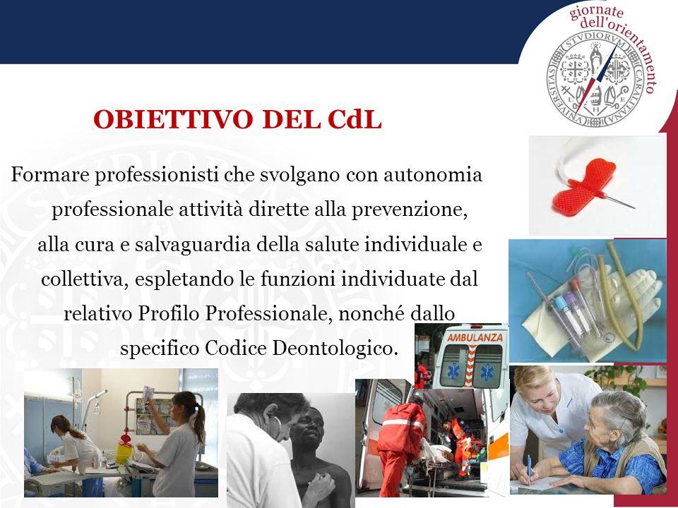OBIETTIVO DEL CdL Formare professionisti che svolgano con autonomia professionale attività dirette alla prevenzione, alla cura e salvaguardia della sa