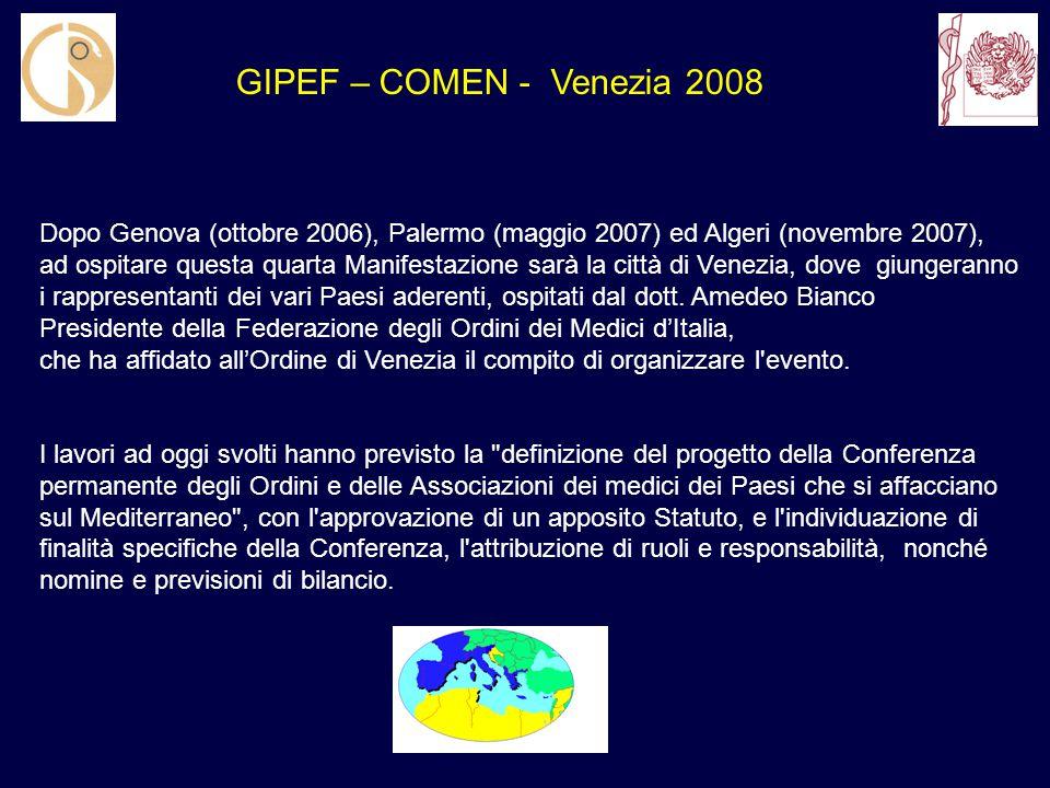 Dopo Genova (ottobre 2006), Palermo (maggio 2007) ed Algeri (novembre 2007), ad ospitare questa quarta Manifestazione sarà la città di Venezia, dove giungeranno i rappresentanti dei vari Paesi aderenti, ospitati dal dott.