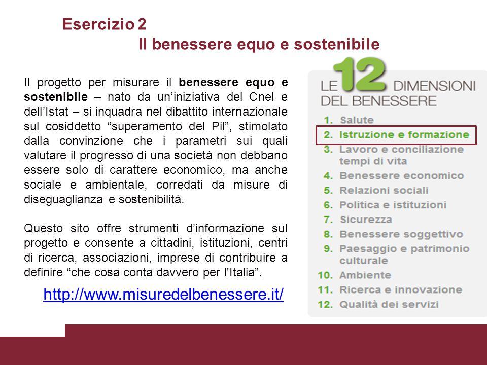 Esercizio 2 Il benessere equo e sostenibile: istruzione e formazione L'istruzione, la formazione e il livello di competenze influenzano il benessere dei soggetti e aprono opportunità altrimenti precluse.