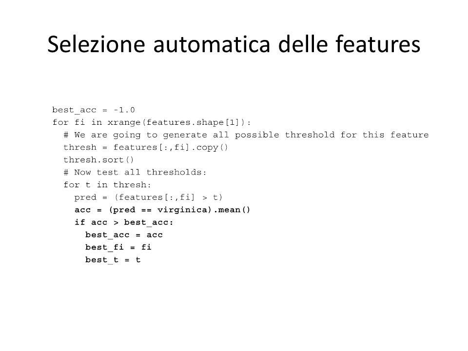 Selezione automatica delle features