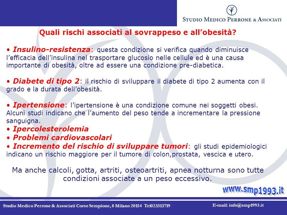 Studio Medico Perrone & Associati Corso Sempione, 8 Milano 20154 Tel023313719 E-mail: info@smp1993.it Quali rischi associati al sovrappeso e all'obesità.