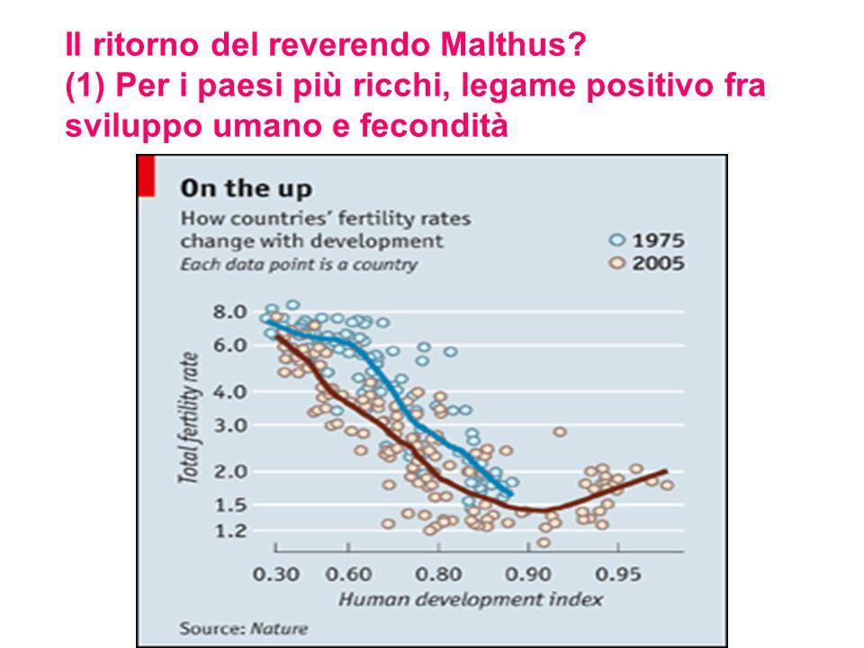 Il ritorno del reverendo Malthus? (1) Per i paesi più ricchi, legame positivo fra sviluppo umano e fecondità