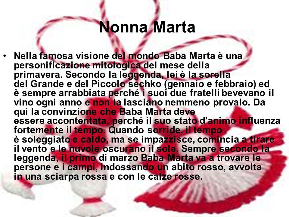 Nonna Marta Nella famosa visione del mondo Baba Marta è una personificazione mitologica del mese della primavera. Secondo la leggenda, lei è la sorell