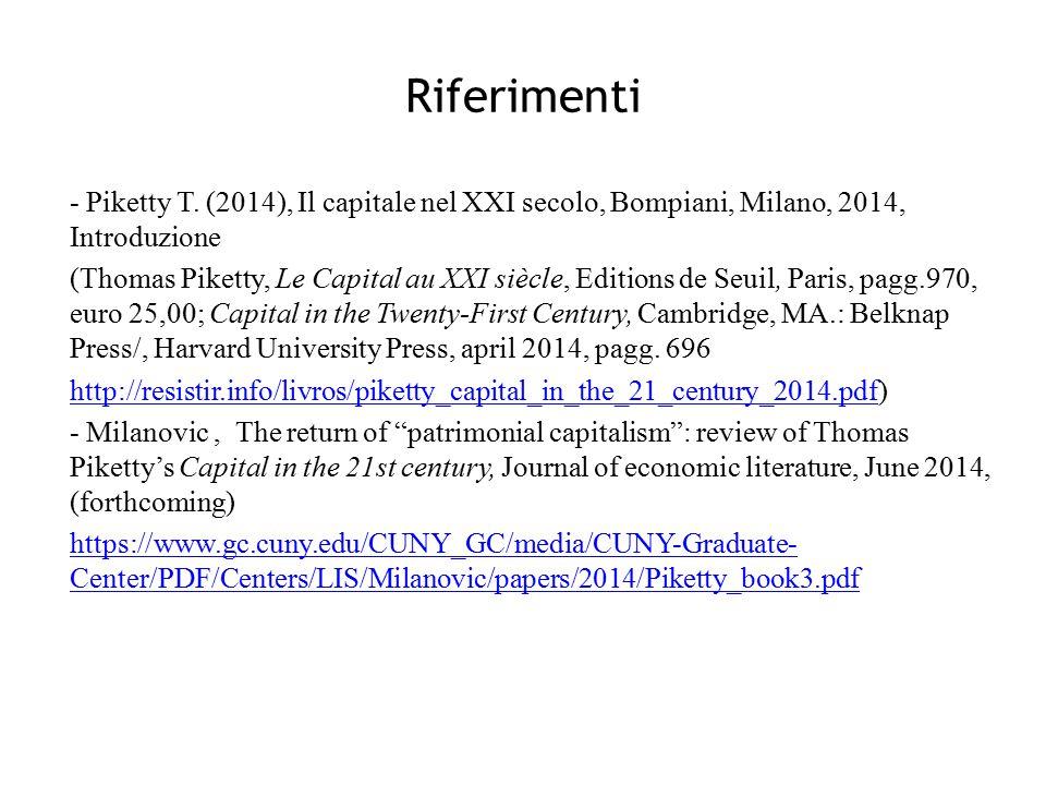 Riferimenti - Piketty T. (2014), Il capitale nel XXI secolo, Bompiani, Milano, 2014, Introduzione (Thomas Piketty, Le Capital au XXI siècle, Editions