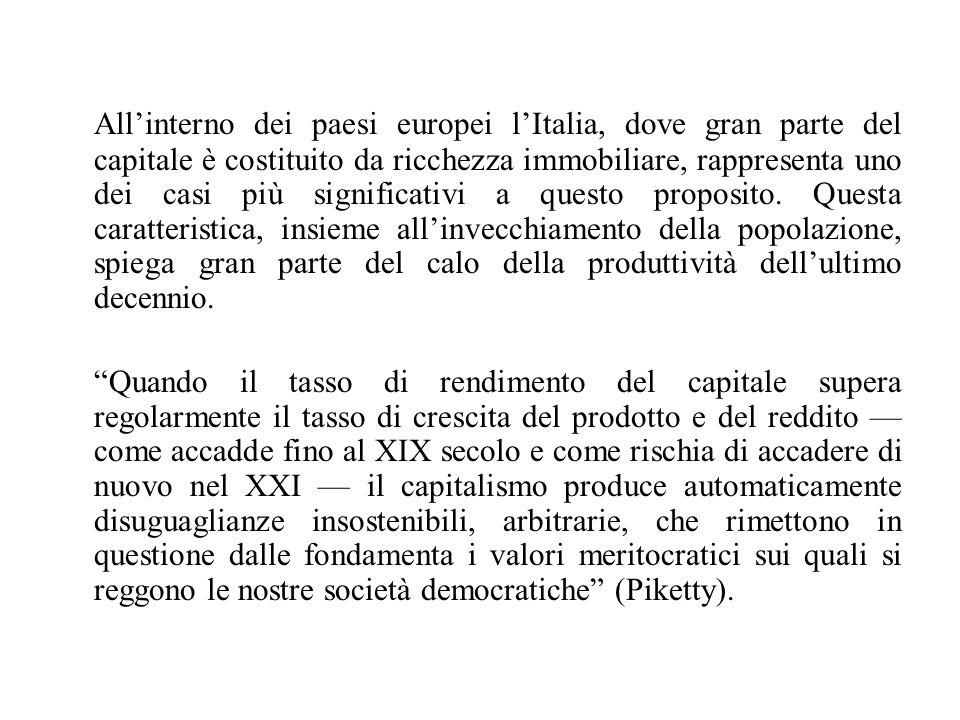 All'interno dei paesi europei l'Italia, dove gran parte del capitale è costituito da ricchezza immobiliare, rappresenta uno dei casi più significativi a questo proposito.