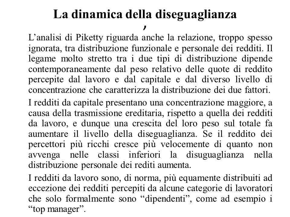 La dinamica della diseguaglianza ' L'analisi di Piketty riguarda anche la relazione, troppo spesso ignorata, tra distribuzione funzionale e personale