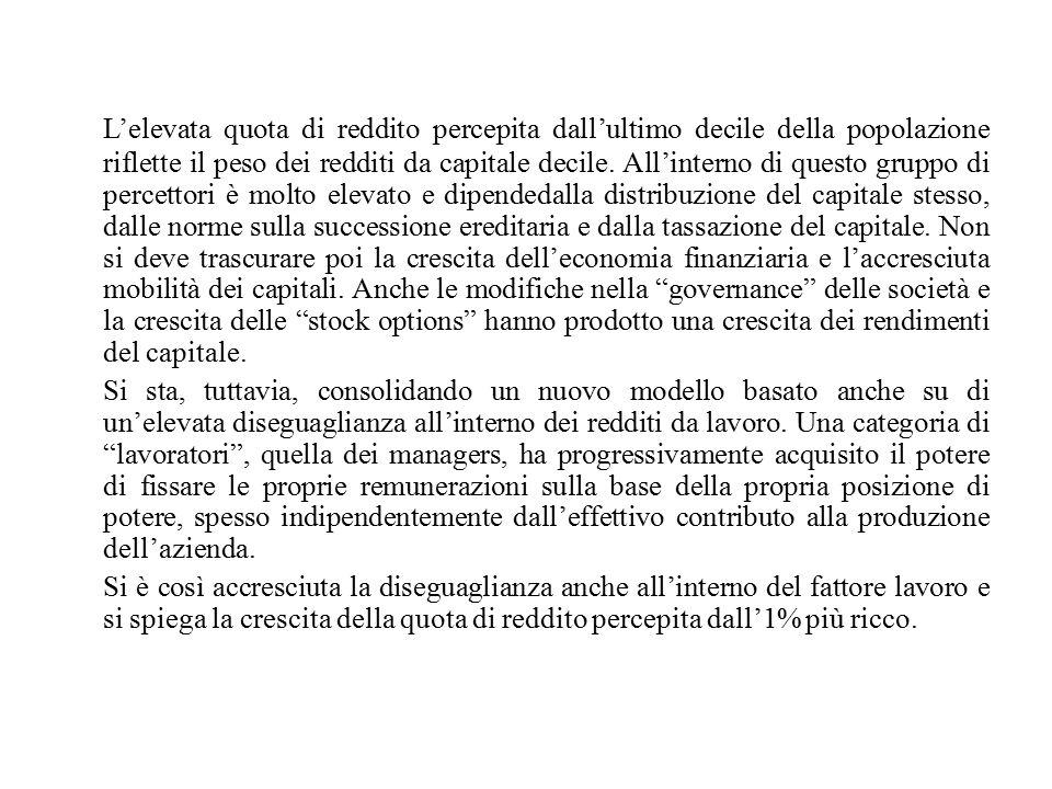 L'elevata quota di reddito percepita dall'ultimo decile della popolazione riflette il peso dei redditi da capitale decile.